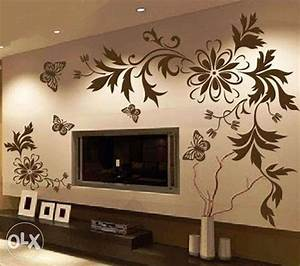 Simple wall painting designs for living room at modern for Interior wall painting ideas stenciling
