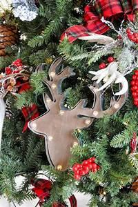 Christmas Ornaments Lights Balls Kara 39 S Party Ideas Rustic Plaid Farmhouse Cabin
