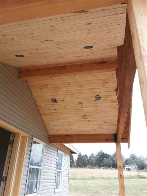 car siding ceiling open gable cedar front porch ournewhome patio roof mobile home porch