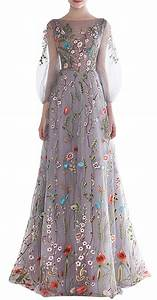 Amazoncom ethel women39s zipper back floral embroidery for Floral embroidered wedding dress
