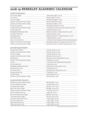 academic calendar berkeley calendars