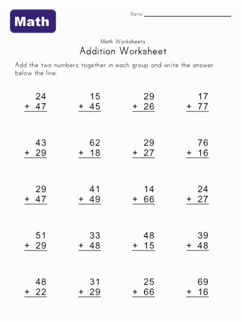 Vertical Addition Worksheets With Carrying  2 Digit Addition Worksheetsgrade 1 Printable