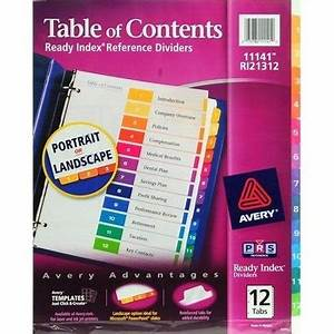 Avery ready index table of contents dividers 11150 12 tab for Avery ready index template 12 tab