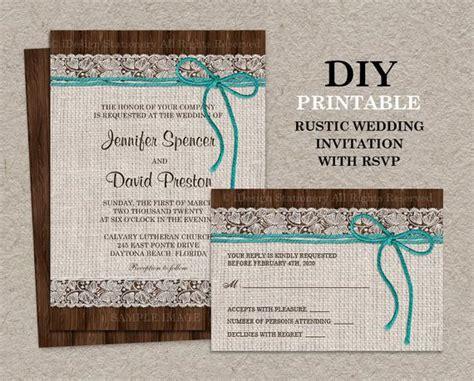 printable rustic wedding invitation  rsvp card burlap