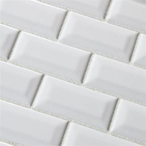 3x6 white subway bevel glossy ceramic contemporary