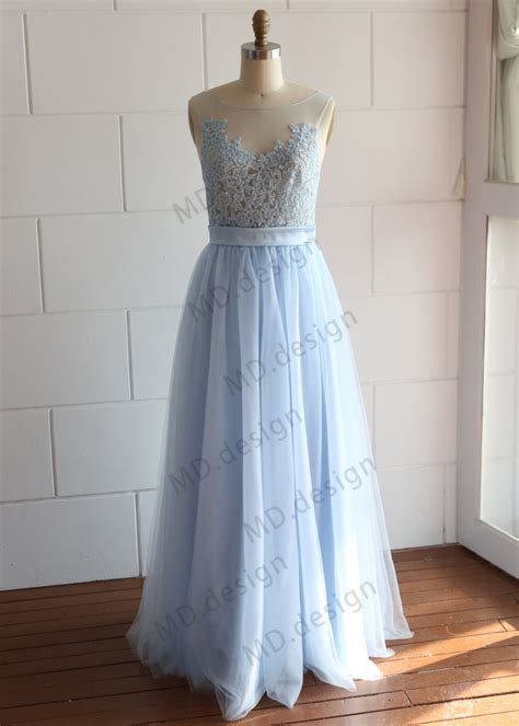 light blue tulle dress a line sheer neckline light blue lace tulle prom dress