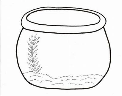 Bowl Fish Clipart Outline Coloring Empty Fishbowl