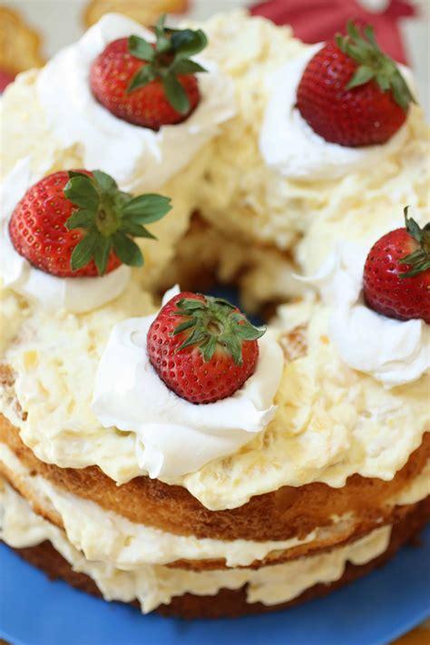 angel food cake  pineapple whipped cream   feast