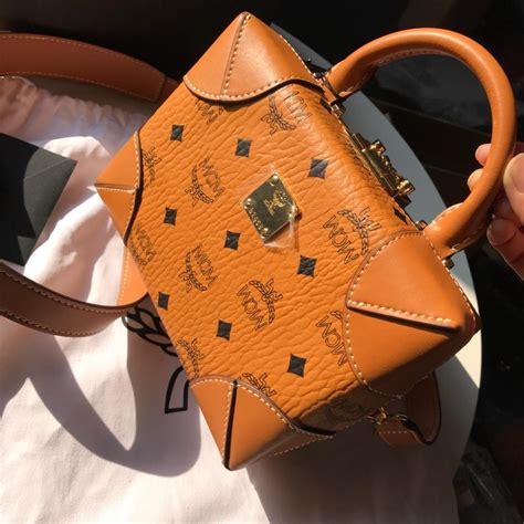 cheap mcm soft berlin crossbody bag  monogram leather cognac