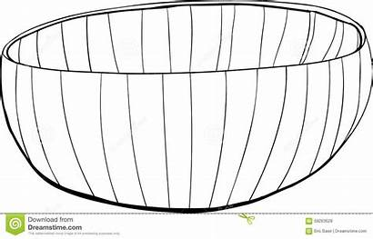 Outline Empty Bamboo Bowl Hand Drawn Illustration