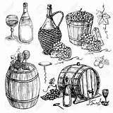 Wine Bottle Grapes Barrel Drawing Uva Drawn Hand Vector Della Barilotto Glasses Dell Bottiglia Insieme Vino Cheese Druiven Grape Vine sketch template