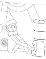 Elf Coloring Shelf Pages Printable Decorate Paper Toilet Version Decor sketch template