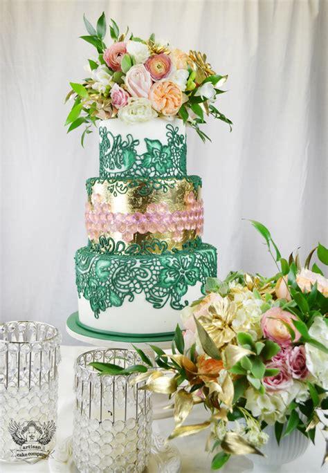 emerald  gold wedding cake  pink sugar gems