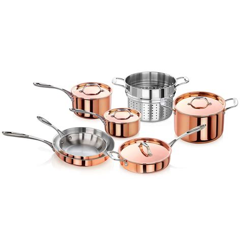 tri ply copper clad induction ready stock pot steamer cookware set induction cookware cookware