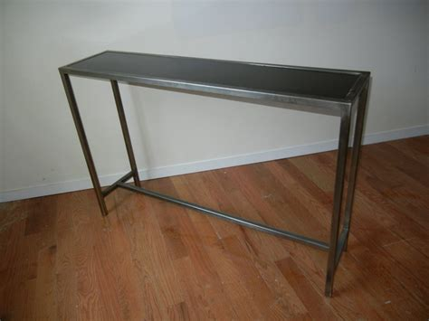 industrial metal console table industrial steel and marble console table from belgium for