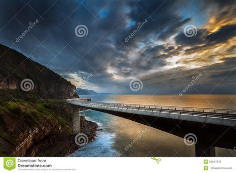 Sunrise Above Sea Cliff Bridge Stock Photo Image Of