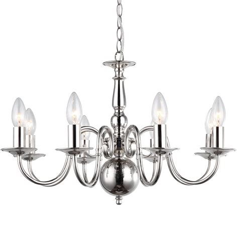 Light Chandeliers by Lyon Flemish 8 Light Chandelier Polished Nickel From
