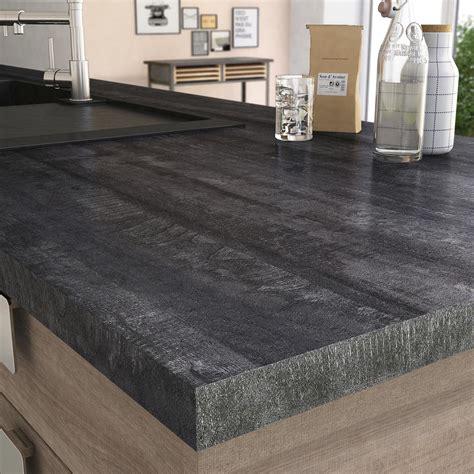 plan de travail cuisine grande largeur plan de travail stratifié vintage wood noir mat l 315