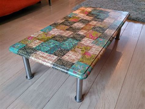 decoupage coffee table i did this with different sized