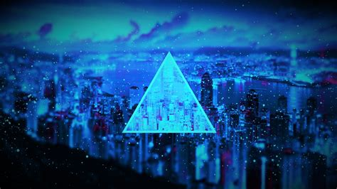 particle blue black dark triangle cityscape sea