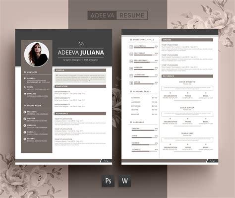 modern resume template julianna resume templates creative market