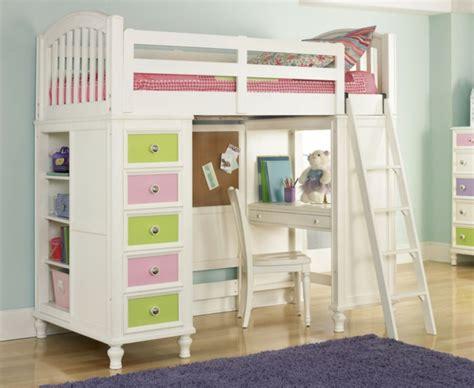 lit à étage avec bureau chambre fille mauve et vert lit mezzanine avec