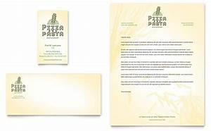 Italian pasta restaurant business card letterhead for Restaurant letterhead templates free
