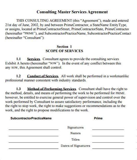 consulting services agreement template 15 sle master service agreement templates sle templates