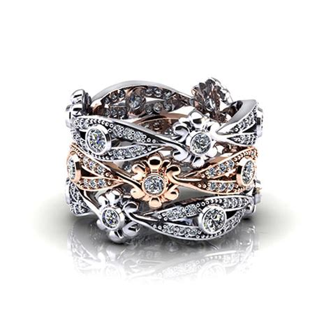 diamond floral wedding ring jewelry designs