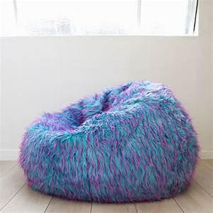 Large, Shaggy, Fur, Beanbag, Cover, Blue, Pink, Cloud, Chair, Soft, Bean, Bag, Retro, Lounge