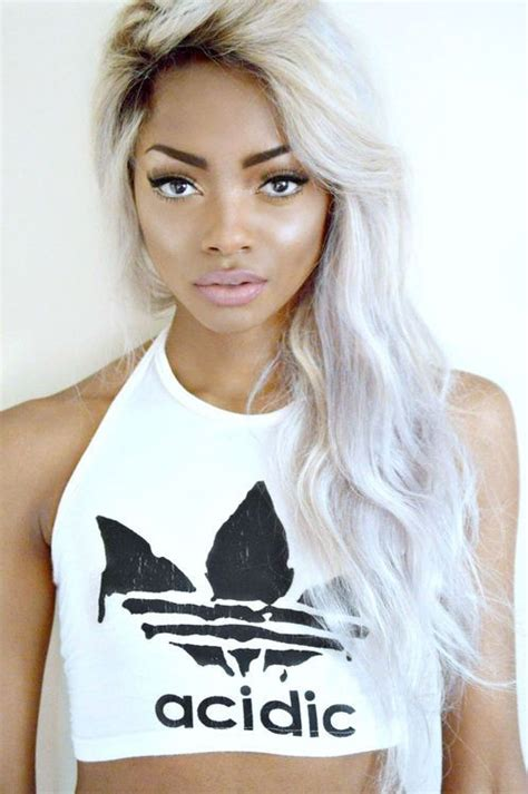 Pretty Brown Girl With White Hair Love This Straight