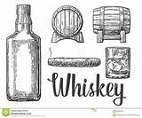 Whiskey Glass Bottle Cigar Barrel Vector Illustration Ice Cubes Whisky Alcohol Background Drawing Clipart Drink Clip Bourbon Coloring Scotch Line sketch template