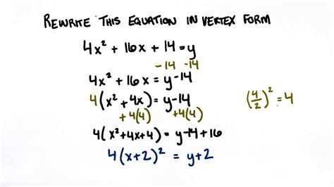 write the function in vertex form rewrite in vertex form college algebra youtube