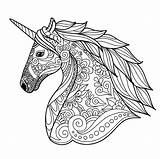Unicorn Coloring Head Unicorns Simple Pages Adult sketch template