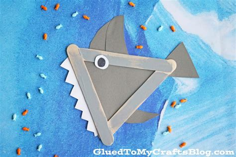 popsicle stick shark kid craft glued to my crafts