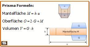 prisma formeln berechnen volumen oberflaeche mantelflaeche