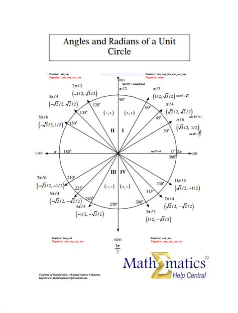 11 Circle Template Free Premium Templates Unit Circle Chart Template 11 Free Word Pdf Format