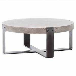 Frantz loft modern grey concrete low round coffee table 30d for Gray metal coffee table
