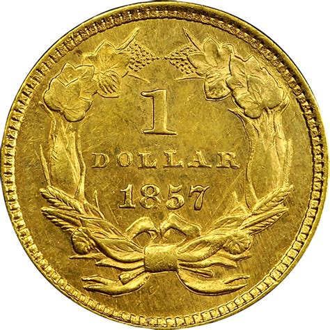one dollar coin value 1857 g 1 ms gold dollars ngc