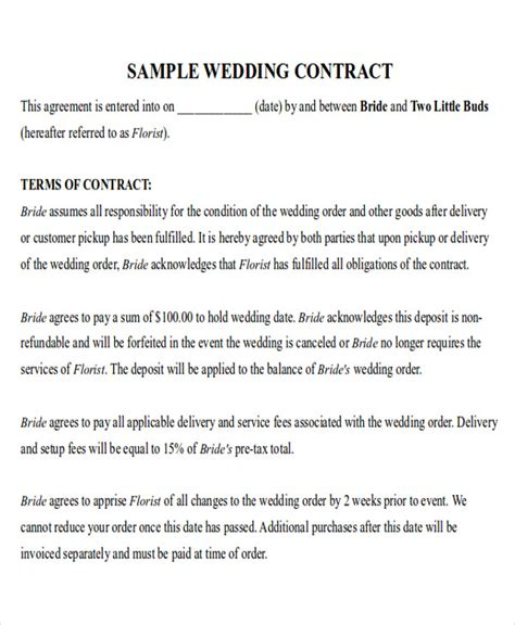 Wedding Florist Contract Template by 9 Sle Wedding Contract Agreements Sle Templates