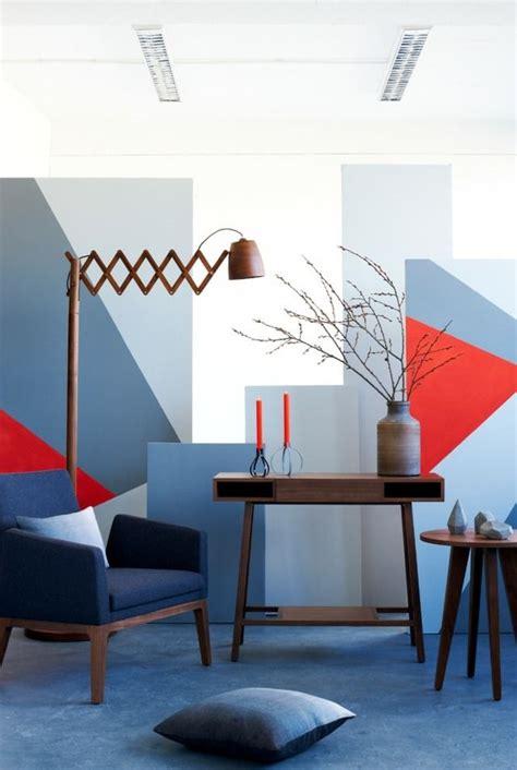 Wandgestaltung Wohnzimmer Muster by Modernes Wohnzimmer Wandgestaltung Grau Rote Blaue Muster
