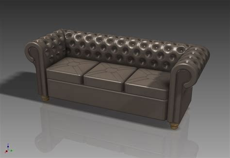 Divano Chesterfield 3ds Max : Chesterfield Sofa 3d Model .max .obj .3ds .stl .stp