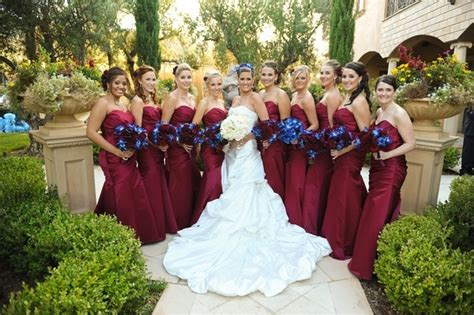 Maroon Color For The Bridesmaids Dresses.... Not The Blue