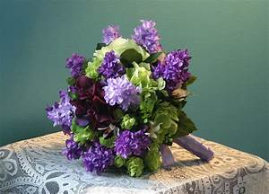 Purple Lilac and Lime Green Wedding Bouquet Groom's
