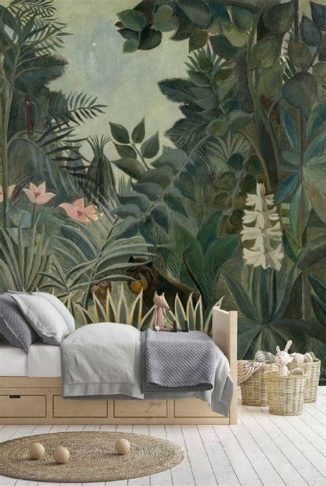 peel  stick wallpaper leaves jungle wallpaper kids