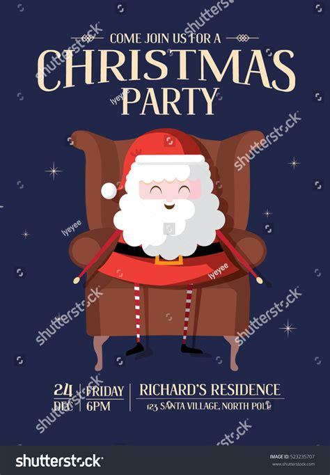Santa Claus Christmas Party Invitation Card Stock Vector