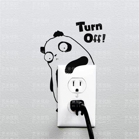 panda turn light switch sticker wall decal sticker panda wall sticker for light switch