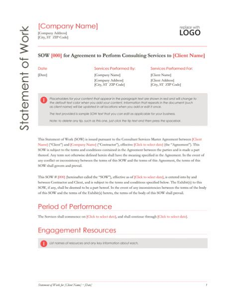 statement of work template for professional services statement of work design