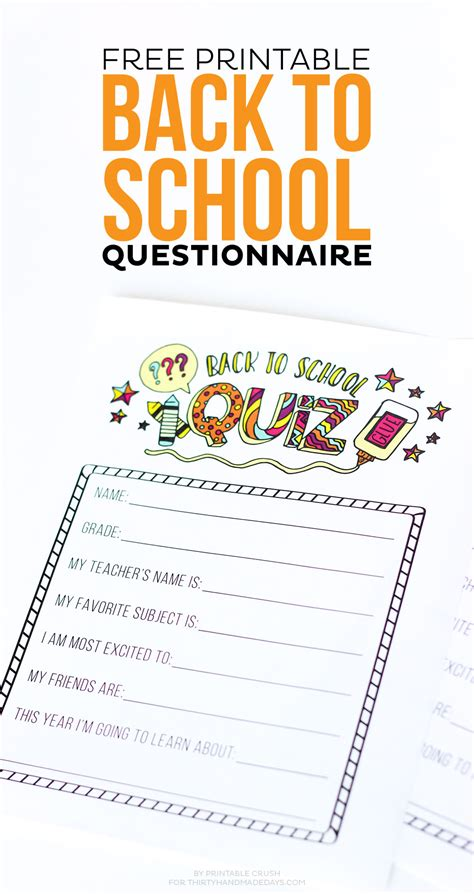 Free Printable Back To School Questionnaire  Thirty Handmade Days