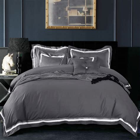 Grey King Size Duvet Cover by 4pc 100 Cotton Luxury Satin Fabric Solid Color Dark Grey